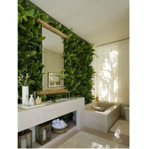 Pared completa con plantas artificiales decorativas
