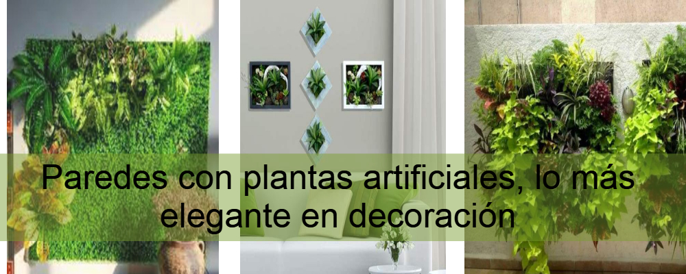 Pared con plantas artificiales